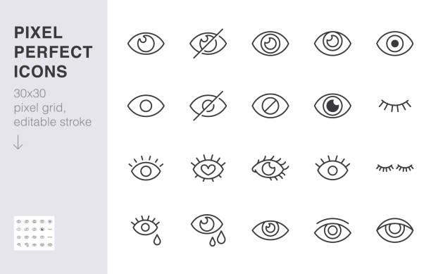 eyeline-symbol gesetzt. offene, geschlossene augen, sichtbares unsichtbares konzept, verstecktes passwort, minimale vektor-illustrationen anzeigen. einfache gliederungszeichen für web-anwendung ui. 30x30 pixel perfekt. bearbeitbare striche - auge stock-grafiken, -clipart, -cartoons und -symbole