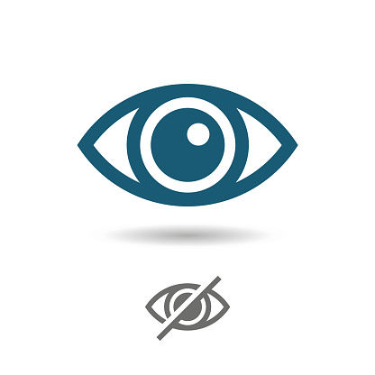Eye line icon set. Open, closed eyes, visible invisible concept, hidden password sign- vector illustrations.