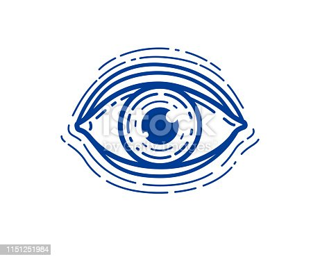Eye linear vector design element for icon, all seeing eye of god or medical oculist symbol.