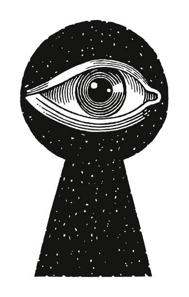 Eye Looking Through Keyhole Eye Looking Through Keyhole keyhole stock illustrations