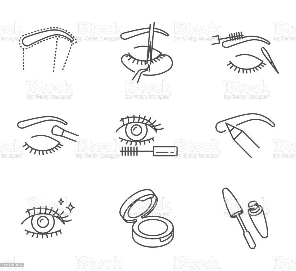 Augen Make-up und Kosmetik-Vektor-Icons Set Umriss-Stil – Vektorgrafik