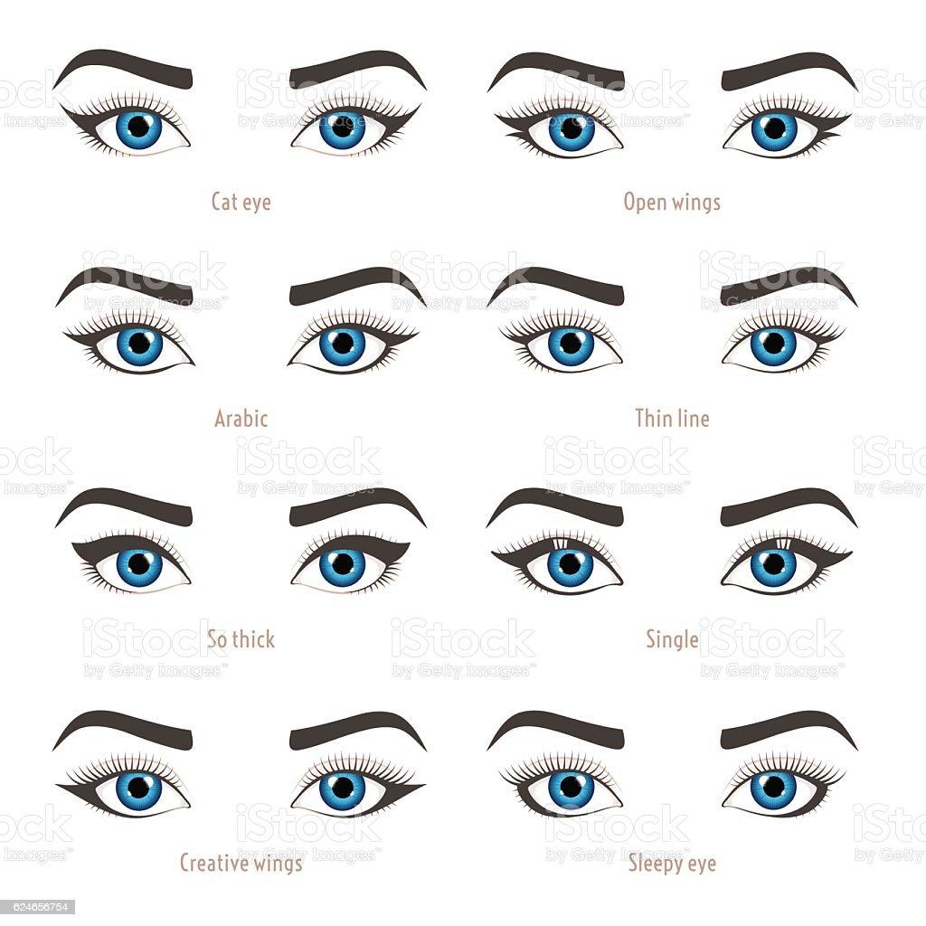 Eye makeup types. Eyeliner shape tutorial. Vector set with captions. – Vektorgrafik