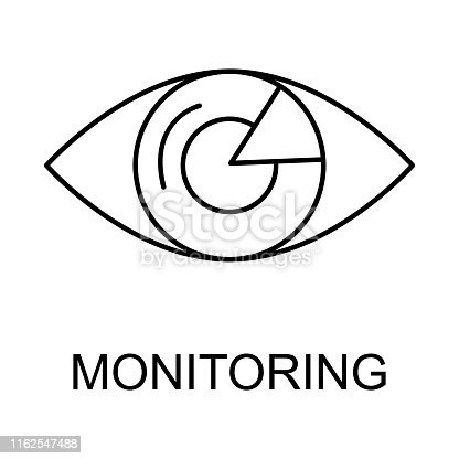 eye monitoring outline icon. Element of data protection icon with name for mobile concept and web apps. Thin line eye monitoring icon can be used for web and mobile on white background