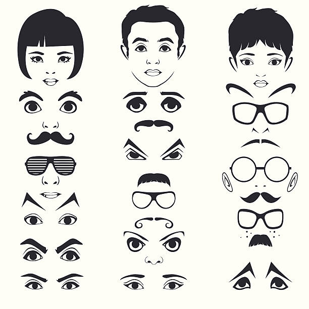 eye mustache lips and hair, face parts, head character - old man hair stock illustrations, clip art, cartoons, & icons