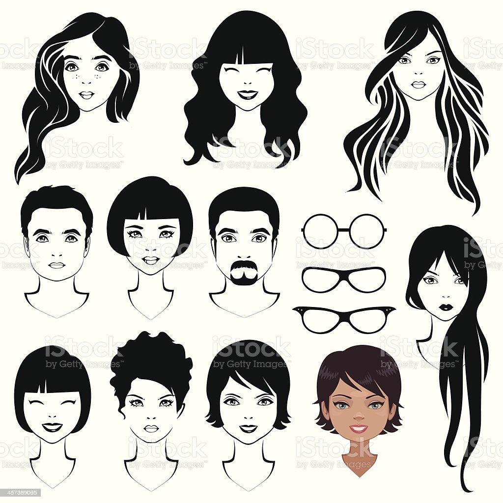 eye mustache lips and hair vector art illustration