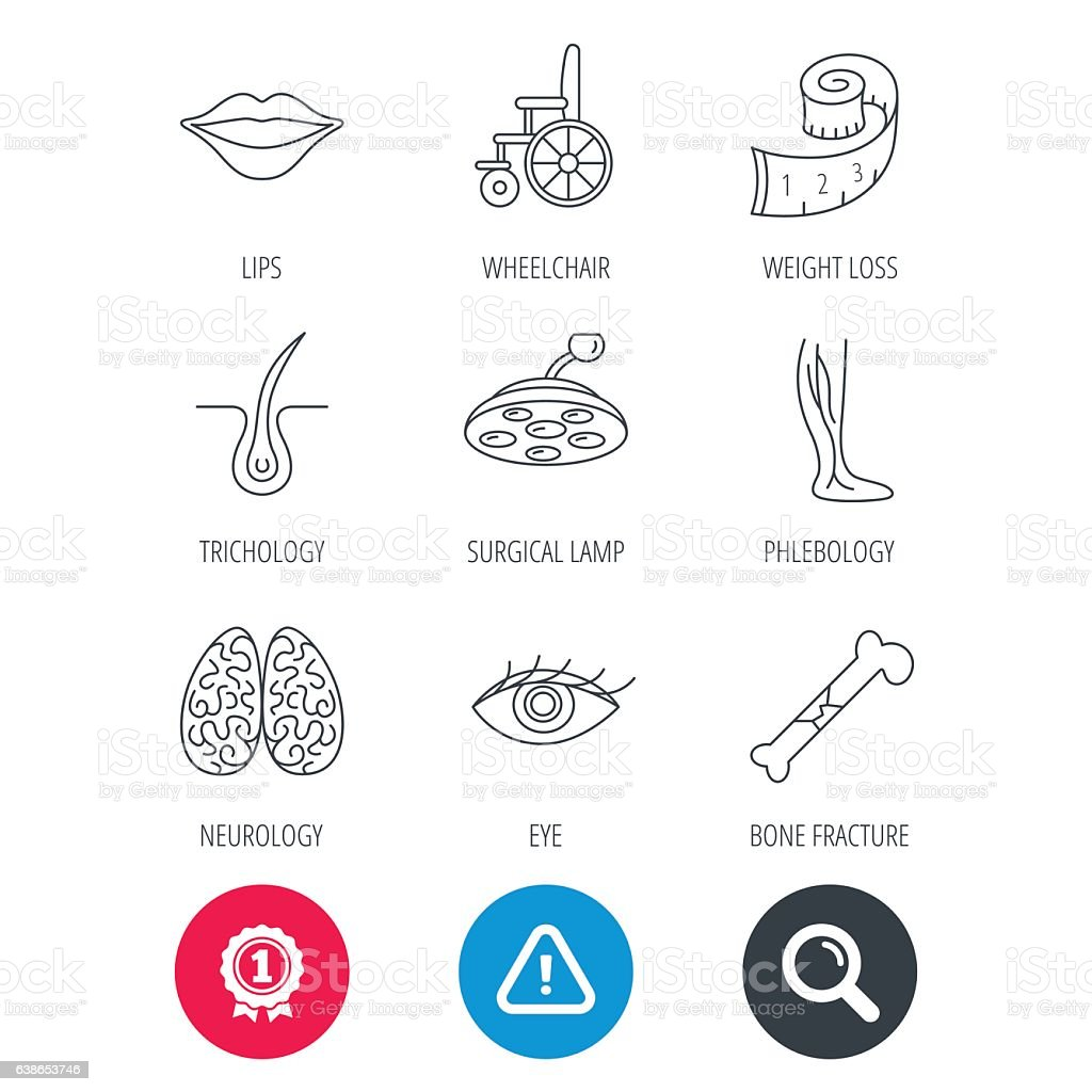 Eye, neurology brain and vein varicose icons. vector art illustration