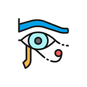Vector eye of Horus, ancient egyptian moon flat color line icon. Symbol and sign illustration design. Isolated on white background