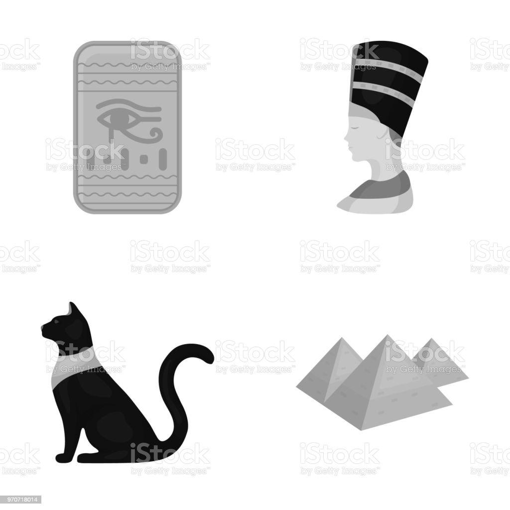 Eye Of Horus Black Egyptian Cat Pyramids Head Of Nefertitiancient