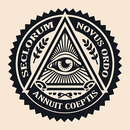 Eye of Providence. Masonic symbol. Conspiracy theory. parchment, space. seclorum, novus ordo, annuit coeptis