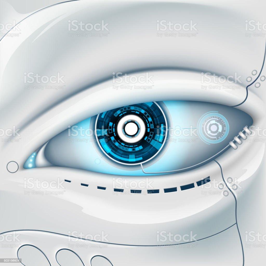 Eye of the robot. vector art illustration