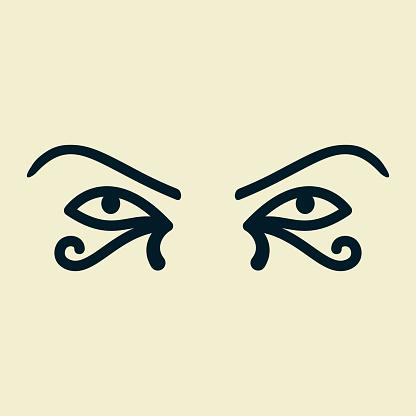 Eye of the sun Ra. Horus. Vector ancient Egyptian icon. Moon eye of Thoth, protection symbol. Amulet egypt pharaoh pyramid.