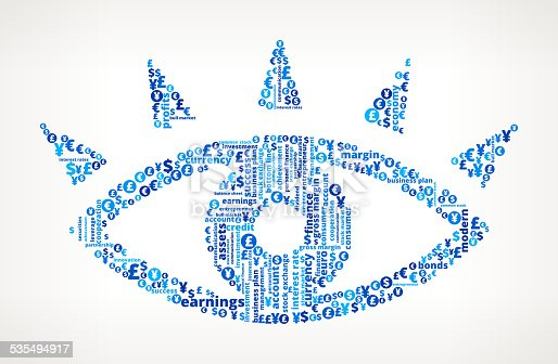 Eye royalty free Business and Finance Word Cloud. The pattern features vector arts of word cloud. Words include money, achievement, business, dollar and more business and finance terms. Image works for social media, marketing, management business leadership and business communication ideas. Icon download includes vector art and jpg file.
