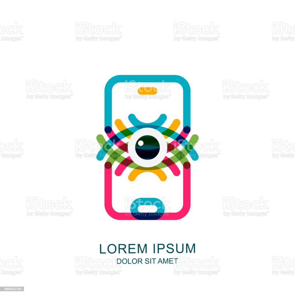 Eye on mobile phone screen. Vector sign, emblem design. Concept for mobile app, retina scan, biometric recognition vector art illustration
