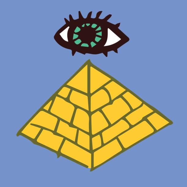 auge auf der oberseite der pyramide - kultfilme stock-grafiken, -clipart, -cartoons und -symbole