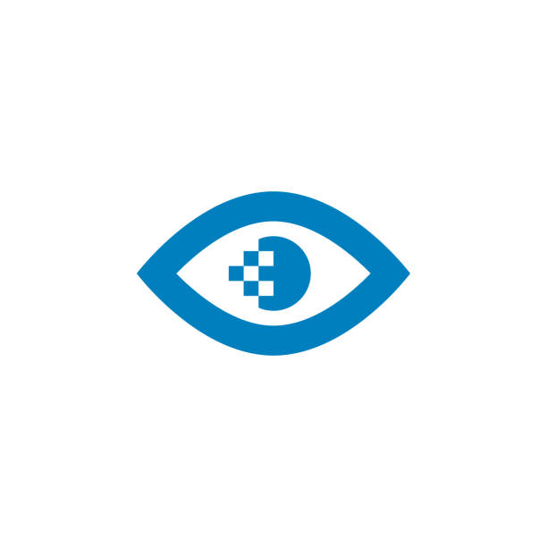 eye pixel pupil icon in flat style. vector illustration on white background. - зрение stock illustrations