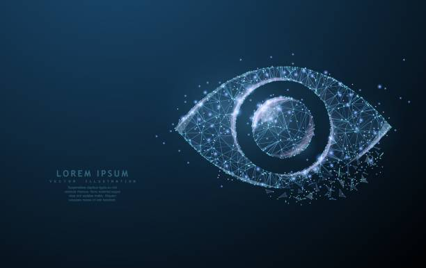 Eye. Polygonal wireframe mesh icon with crumbled edge looks like constellation. Concept illustration or background vector art illustration
