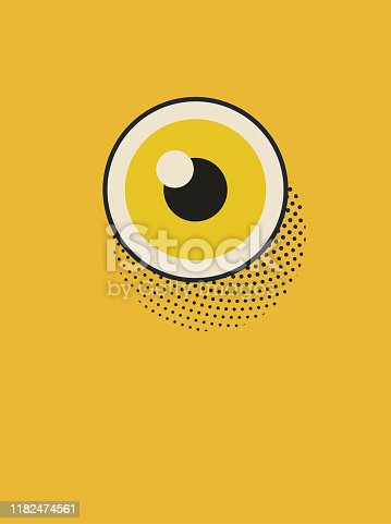 Vector illustration of a poster depicting a wide open eye, a watcher, a vigilante. Design element great as a background, wallpaper, landing page, book cover, illustration for the media and news blogs, social media platforms and a wide array of design projects. The illustration has a vintage style, a pop art touch and a soft half tone texture.