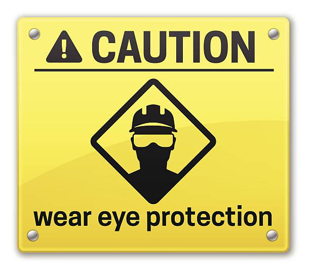 vorsicht zeichen augenschutz - schutzbrille stock-grafiken, -clipart, -cartoons und -symbole
