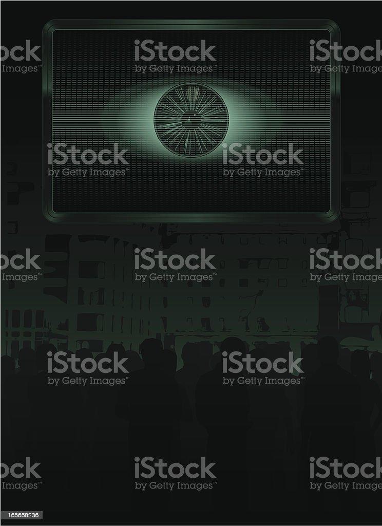 Eye screen crowd vector art illustration