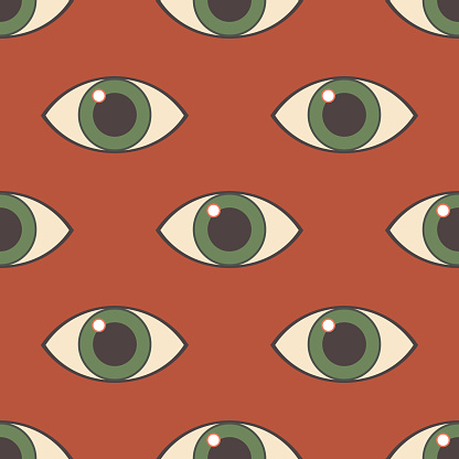 Eye. Seamless modern pattern with an all-seeing eye. Print on fashionable fabrics, decorative pillows, textiles, wrapping paper. Vector graphics.