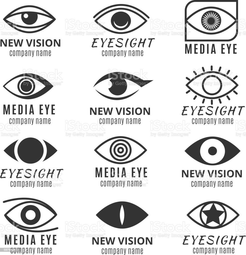 Eye, see, vision media logos vector set
