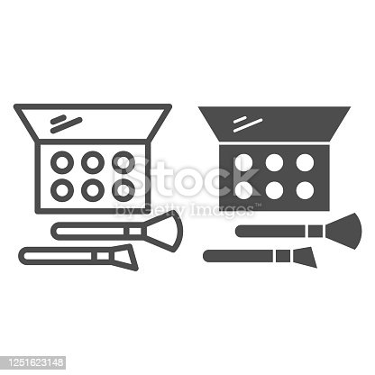 istock Eye shadow and brush line and solid icon, Cosmetic products concept, make up accessories sign on white background, eye shadow with brush in rectangular box icon in outline style. Vector graphics. 1251623148