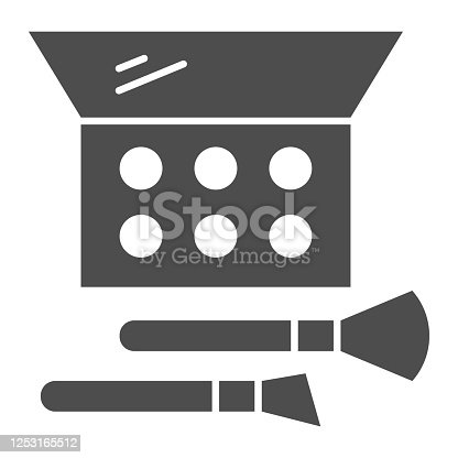 istock Eye shadow and brush solid icon, Cosmetic products concept, make up accessories sign on white background, eye shadow with brush in rectangular box icon in glyph style. Vector graphics. 1253165512