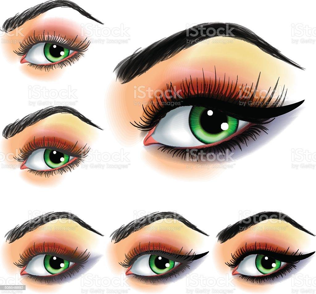 Eye Shadow Makijaż Krok Po Kroku Stockowe Grafiki Wektorowe I