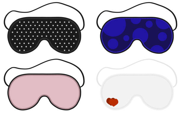 Ilustración de vector de ojo sueño máscara. Objeto accesorio del sueño. Conjunto de sueño máscaras. Aislados ilustración de dormir máscara ojos. - ilustración de arte vectorial