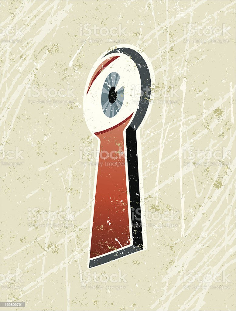 Eye Spying through a Keyhole vector art illustration