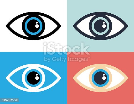 Vector of Eye symbol icon illustration with color background.