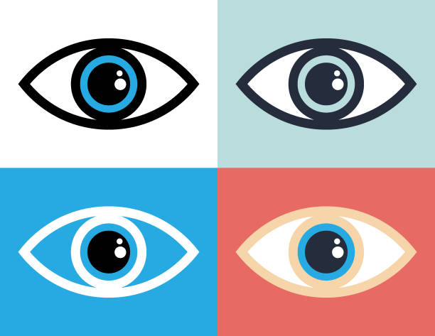 Eye symbol icon illustration Vector of Eye symbol icon illustration with color background. blinking stock illustrations