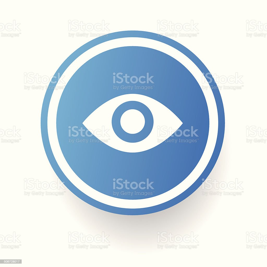 Eye symbol,Blue button,vector vector art illustration