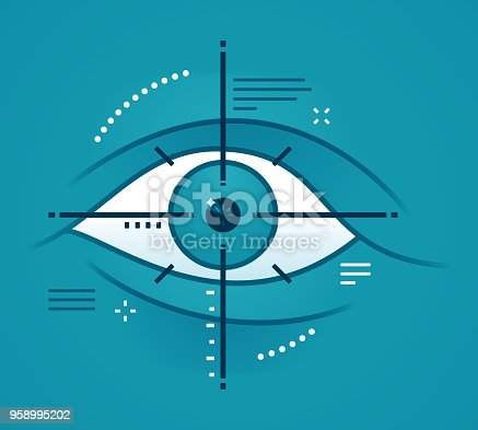 Eye scanning biometric DNA characteristics concept.