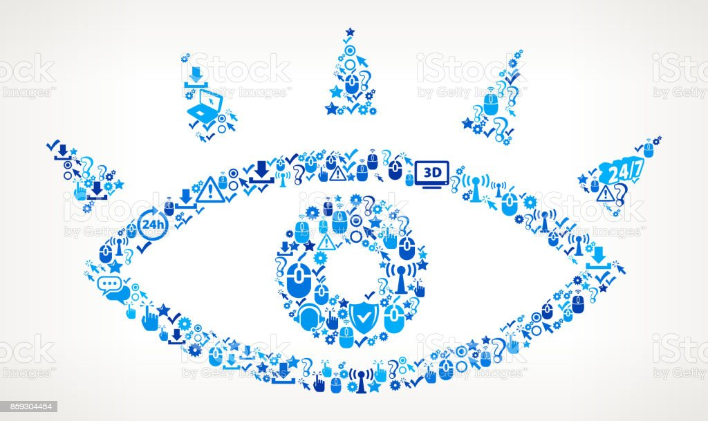 Eye Tech Support Vector Icon Pattern vector art illustration