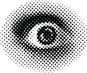 Eye Terrified. Halftone Pattern Dot.