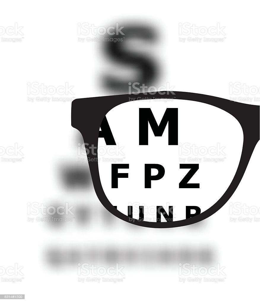 Eye test blurred with glasses vector illustration vector art illustration