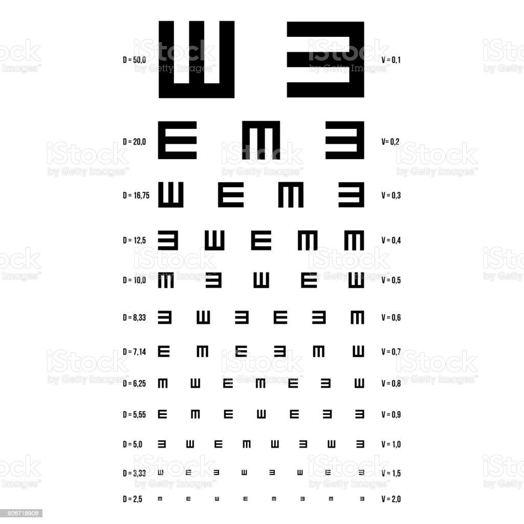 eye test chart vector e chart vision exam optometrist check medical eye diagnostic sight
