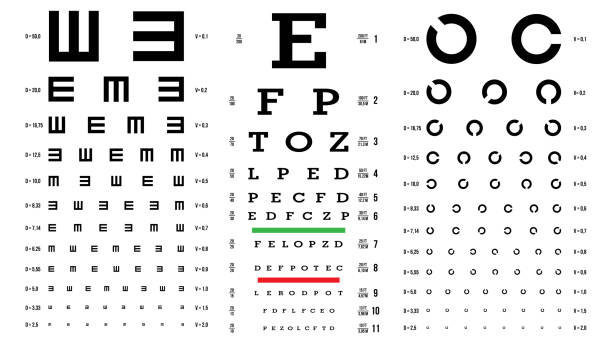 eye test chart vector. vision exam. optometrist check. medical eye diagnostic. different types. sight, eyesight. optical examination. isolated on white illustration - optometrist stock illustrations, clip art, cartoons, & icons