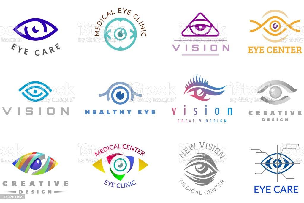 Eye vector eyeball icon eyes look vision and eyelashes logotype of medical care optic company supervision illustration isolated on white background