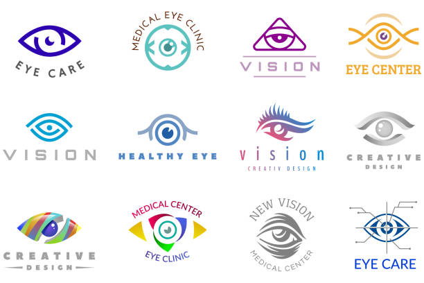 Eye vector eyeball icon eyes look vision and eyelashes logotype of medical care optic company supervision illustration isolated on white background Eye vector eyeball icon eyes vision and eyelashes look logotype of medical care optic company supervision illustration isolated on white background. optical instrument stock illustrations