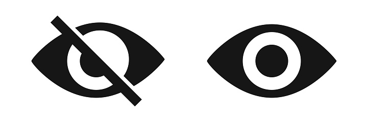 Eye vector icon. See and unsee symbol. Don`t look icons.