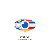 istock Eye vision sign or emblem design template. Abstract colorful morse code human eyes vector illustration 1204694628
