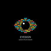 istock Eye vision sign or emblem on black background. Abstract morse code human eyes vector illustration 1187592530