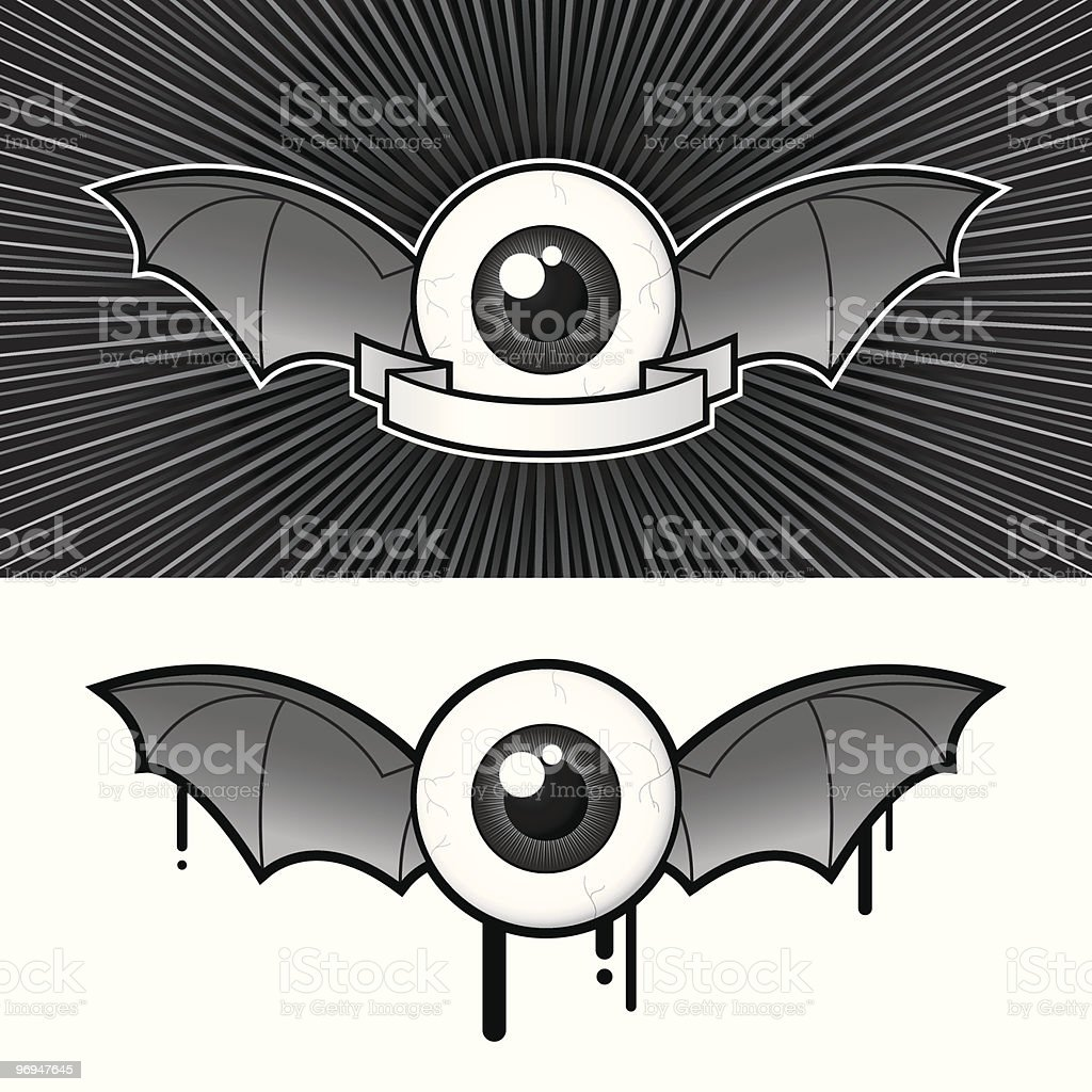 Eye with bat wings and banner - vector royalty-free eye with bat wings and banner vector stock vector art & more images of animal retina