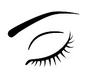 Eye with long black lashes vector icon on white background