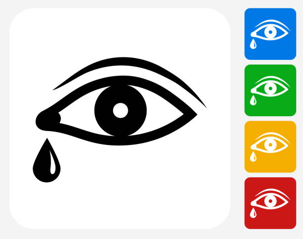 eye with tear icon flat graphic design - teardrop stock illustrations, clip art, cartoons, & icons