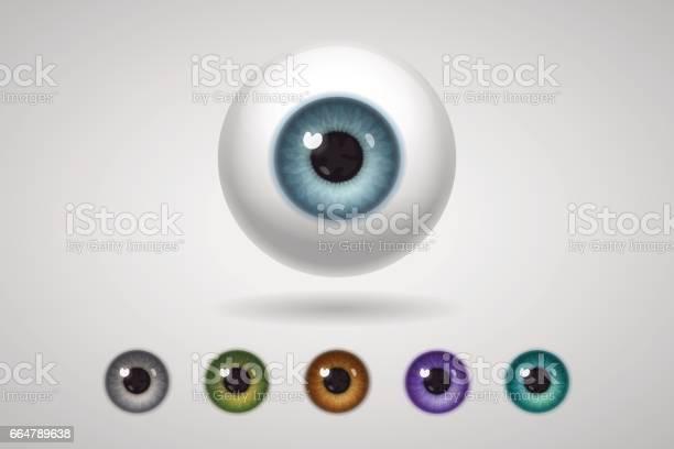 Ilustración de Eyeball Y Iris De Colores y más Vectores Libres de Derechos de Azul