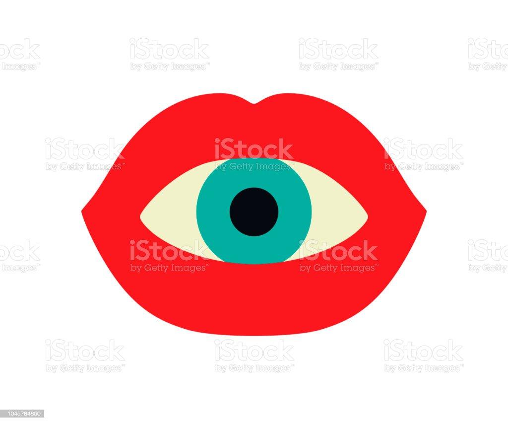 赤い唇と口の中で眼球します おもちゃのベクターアート素材や画像を