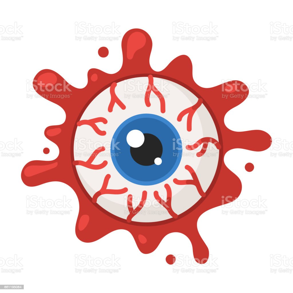 Eyeball in the blood vector art illustration